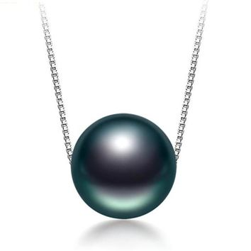 Black Tahitian Pearl Necklace 925 Silver Chain