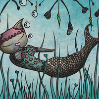 Mermaid Cat 8 x 12 Giclee Fine Art Print by Ella by ShopMissElla