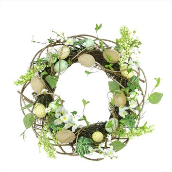 Speckled Easter Egg Twig Spring Floral Wreath 20-Inch