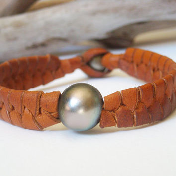 Tahitian pearls braided leather one of a kind men bracelet