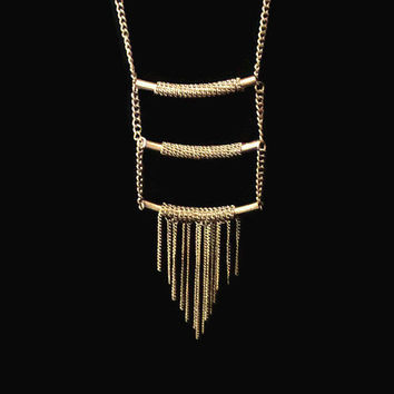 Vintage Tribal Necklace In Brass/Gold Tone, Boho Brass Necklace, Tassel Necklace, Modernist Chain Necklace, Brass Statement Necklace