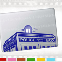 """Doctor Who police box tardis macbook decal, laptop sticker for notebook, Apple MacBook pro, air 13"""" and 15"""". also walls and glass"""
