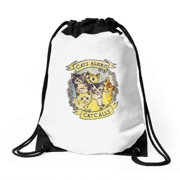 cats against cat calls Drawstring Bags