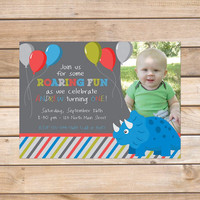 Child's Birthday Party Invitation - 5x7 Printable PDF Digital File OR Custom Printed Hardcopies - Boys Dinosaur Design Photo