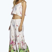 Lara Crepe Woven Floral Cami and Trouser Set