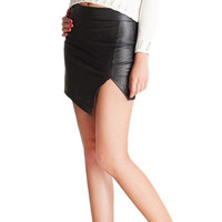 Black Asymmetrical Leather Mini Skirt