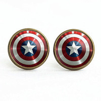 Earrings handmade in the United States in the earrings earrings captain America captain America's shield inspired jewelry earring, gifts