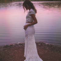 """Vintage Inspired Crochet Lace, Two Piece Gown, Cap Sleeves, Maxi Wedding Dress - """"Morrison"""""""