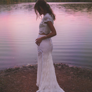 "Vintage Inspired Crochet Lace, Two Piece Gown, Cap Sleeves, Maxi Wedding Dress - ""Morrison"""