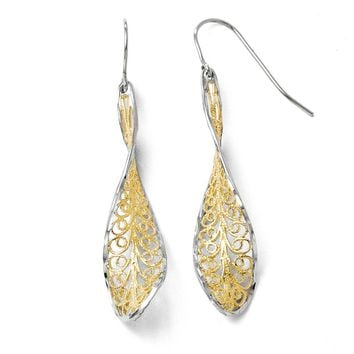Twisted Filigree Dangle Earrings in 10k Yellow Gold & White Rhodium