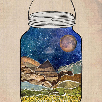 Star Jar - mason jar painting terrarium art print 16 x 20 large format PRINT mixed media travel poster mountain scene