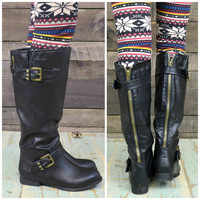 Creekstone Black & Gold Studded Riding Boots