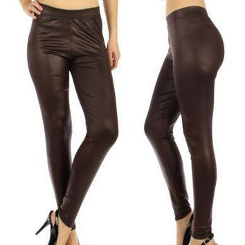 Chocolate Matte Liquid Leggings fits sizes S/M