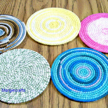 Light Colored Coasters, Handmade Drink Coasters, Glass Coasters, Table Protectors, Drink Placemat, Summer, Round