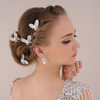New Wedding Accessories Pearl Hair Jewelry Headwear Charm Silver Plated Butterfly U Shape Hairpin Hair Sticks For Bridal F1608