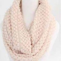 Traveled Road Knitted Infinity Scarf in Beige | Sincerely Sweet Boutique
