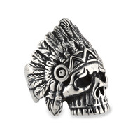 Men's Stainless Steel Indian Chief Skull Biker Ring