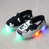 Girls flat shoes mickey led basic casual footwear led shoes cartoon for baby girl light shoes