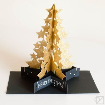Christmas Pop-Up Glitter Star Tree Greeting Cards
