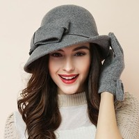 Women party formal headwear lady winter fashion asymmetric bowknot 100% wool felt hats