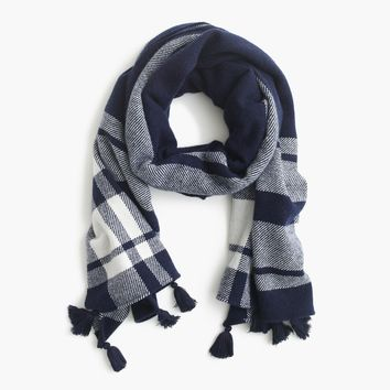 Oversized plaid scarf with tassel pom poms