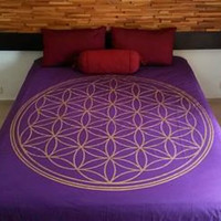 Flower of Life Hand Painted Crystal - Infused Duvet Cover