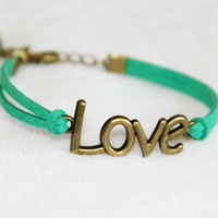 bronzed love charm bracelet green flocking leather handmade bracialli trending bridesmaid friendship graduation  Christmas love gifts