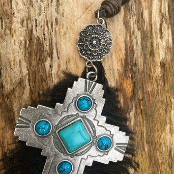 Feather Necklace with Cross Pendant