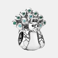 Women's PANDORA Peacock Charm - Silver/ Green/ Blue