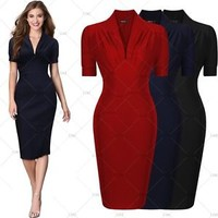 Womens Vintage 1940'S Wiggle Dress Cocktail Party Casual Bodycon Pencil Dresses