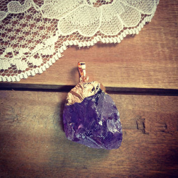 Raw Cut Natural Amethyst Chuck Pendant Nugget with Brass Plating Gemstone jewelry supplies