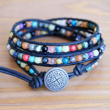 Bohemian beaded leather wrap bracelet, mix gemstones, three times wrap, black, blue, brown, pink, white, trendy jewelry, hipster, gift idea
