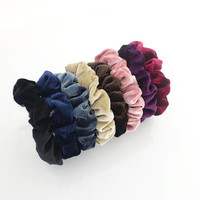 A Set of 8 Solid Color Thin Velvet Scrunchies Hair Elastic Fall Winter Women Hair Accessories Free Shipping