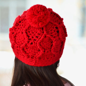 Red pom pom beanie, womens winter hat, Red crochet hat, crochet red beanie, alpaca wool hats,Valentine gift
