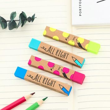 4 pcs/lot Cute Kawaii Stripe Pencil Erasers Colored School Rubbers For Kids Painting Gift Korean Stationery Free Shipping 2273