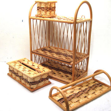 Bath, Kitchen, Basket, Weave, Rack, Shelf, Box, Decor, Bathroom, Storage, Kleenex, Cover, Wood, Shelving, Towel, Rattan, Beach, Brown, Set
