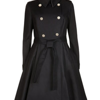 Flared skirt trench coat - Black | Jackets & Coats | Ted Baker