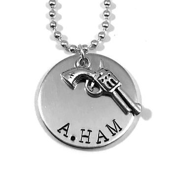 Hamilton Broadway Musical Hand Stamped A. Ham Aluminum Necklace Handmade