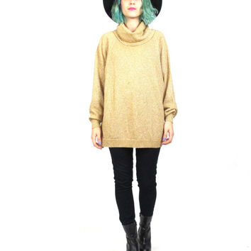 80s 90s Gold Sweater Vintage Metallic Christmas Jumper Sparkle Slouchy Oversize Funnel Neck Turtleneck Jumper (L)