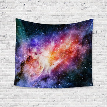 Sherbert Galaxy Bright Galaxy Stars Trendy Boho Wall Art Home Decor Unique Dorm Room Wall Tapestry Artwork