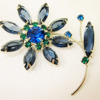 Rhinestone Flower Pin Navy Blue Green Flower Brooch Fifties Sixties Costume Jewelry Fashion Jewelry