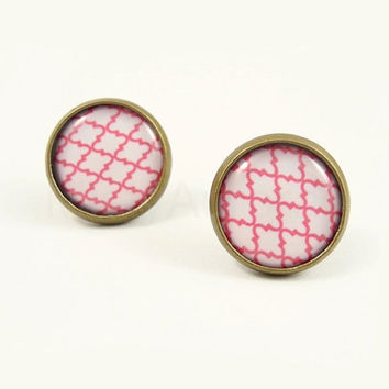 Coral Pink Earring Studs - Pattern Jewelry - Pink White Geometric Earrings