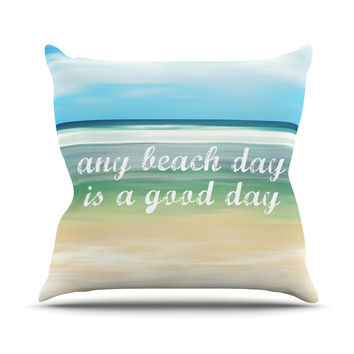 "Sylvia Cook ""Any Beach Day"" Coastal Typography Outdoor Throw Pillow"