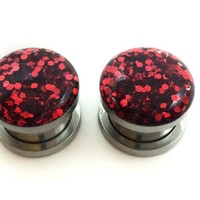 Red glitter plugs / 2g, 0g, 00g, 1/2, 9/16, 5/8, 11/16, 3/4 inch / sparkle gauges / red plugs / screw on gauges / pretty fancy gauges