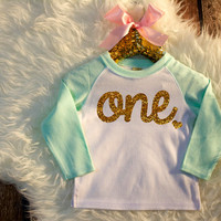 First Birthday Shirt Mint And Gold Birthday Shirt Baby Girl 1st Birthday Gold One Shirt Girl Birthday Shirt Gold 1st Birthday Outfit #17