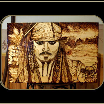 Pirates of the Caribbean,Johnny Depp, man cave, ART,Old man and the SEA,male gift ideas,Birch Tree Art,Wall ART,mens art,wood burned plaques