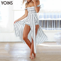 YOINS 2016 New Women Sexy Off Shoulder Slash Neck Playsuit Stripe Backless Splited Maxi Overlay Romper Casual Summer Jumpsuit
