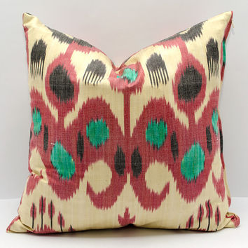 15x15 ikat pillow cover, cushion, pillow case, cushion cover pillowcase, red cream green, sofa pillow, decorative pillow, design pillow