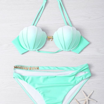 Gradient Color Seashell Bikini Set Padded Mermaid Swimsuit