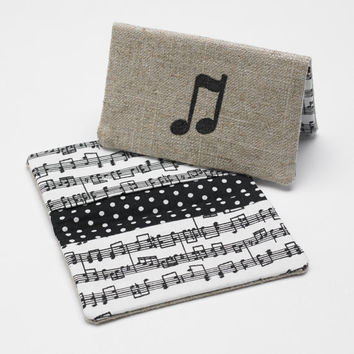 Business Card Case, Credit Card Holder, Fabric Gift Card Wallet in Music Note